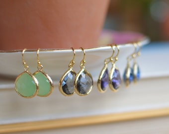 Classic Dangles // Gold Filled // Charcoal, Sapphire, Mint, Aqua, Peach, Dark Red, Black, White // Choose Your Color // Bridesmaid Earrings