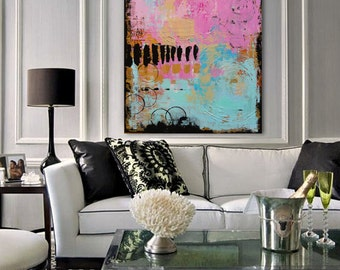 """COMMISSION of my Original, Hand-Painted, Pink, Turquoise, Gold, Black Abstract Painting """"Kala I"""""""