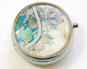 Paisley Pill Box, Pill Case, Pill Container, paisley pill case, mint case, paisley case, teal paisley, round pill case, teal (3145)