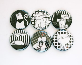Cat Magnets, Button magnets, Kitchen Magnets, cat, Cat Lover, Black, White, Gift for cat lover, stripes, polka dots (3454)