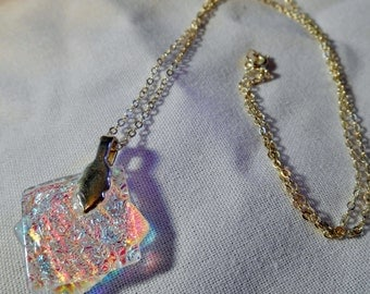 Handmade Iridescent Sandwhiched Glass Pendant on Silver Plated Chain
