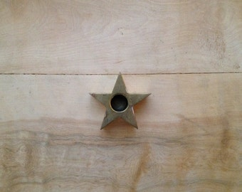 Vintage Brass Star Candle Holder - Metal Constellation Metallic