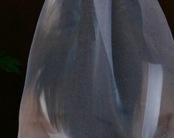 Single tier elbow length organza veil