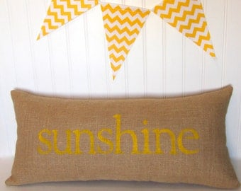 Beach decor, sunshine pillow, yellow pillow, sunshine, beach house decor, yellow accent pillow, burlap pillow by whimsysweetwhimsy