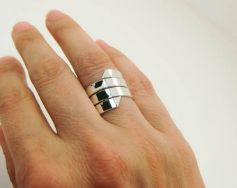 Sterling Silver Ring -  Extra Wide Silver Ring - Wide Silver Wrap Ring - Wide Sterling Wrap Around Ring