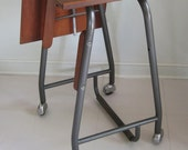 Danish Modern Typewriter Table with Drop Leaf on Casters