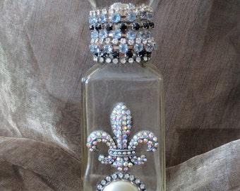Vintage Bottle, Crystal Ball, Rhinestones, Fleur de lis,  One of a Kind Handmade, French Design