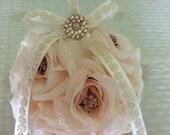 blush  kissing ball pomander for flower girl flower girl basket blush flowers basket for flower girl