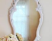Large White Wall Mirror - French Country Mirror - Dressing Mirror - Tall Narrow Mirror - Wedding Décor - Shabby Chic - Vintage Farmhouse