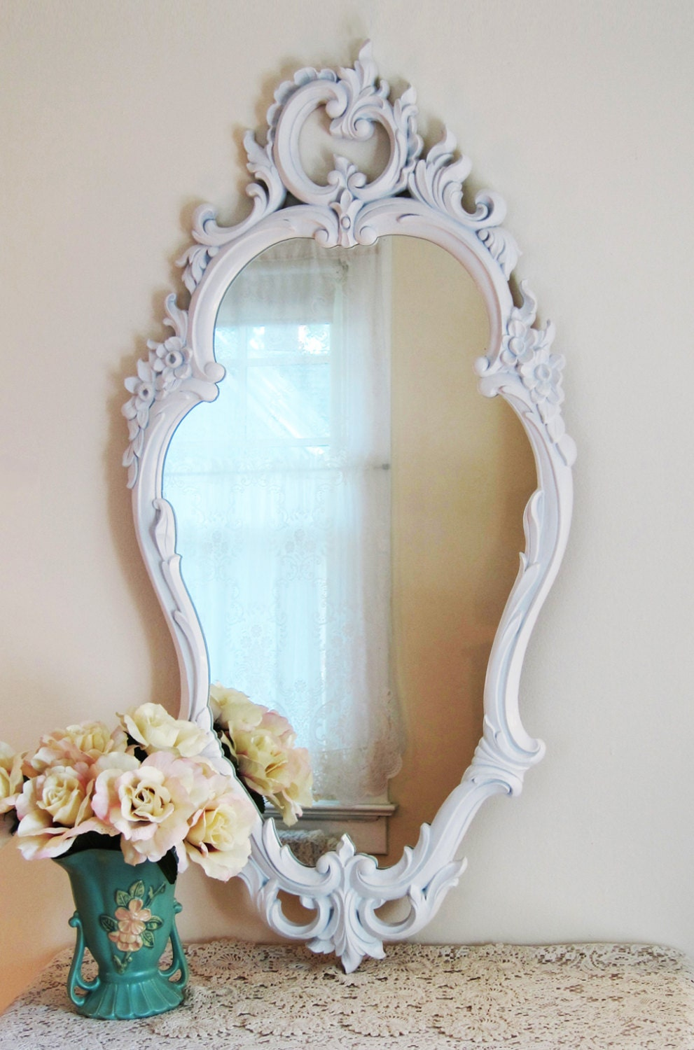 Large white wall mirror french country mirror dressing for White tall wall mirror