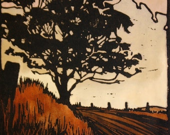 Autumn Evening Handpainted Linocut, Landscape, Country, Australia, Tree