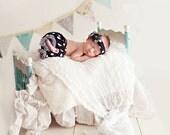 Ruffled pants and headband SET, Girl SET, Polka dots, ruffled pants, Newborn girl Photo Prop-Black white -Made to Order
