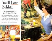 1953 Schlitz Beer Advertisement Mid Century Happy Camper Country Man Americana Camping Pin Up Breweriana Couple Wall Art Bar Decor Print Ad