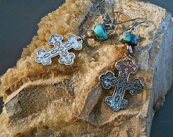 Silver Cross Earrings Ancient Style CrossTibetan Silver Turquoise Pearl Medieval Middle Ages Crusades  Gift Trending Colors