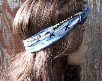 PRINTED WIRE TIE headband / dolly bow / hat band / hair wrap / hippie hair scarf Bohemian blue abstract vintage rayon fabric womens headband
