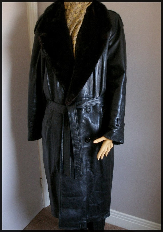 Vintage Mens Black Leather Mink Lined Trench Style Full Length