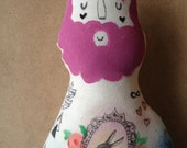 Large Hipster Boyfriend Doll. Hand painted OOAK art doll with Galaxy and Rabbit Tattoos and Purple Beard- made to order soft sculpture