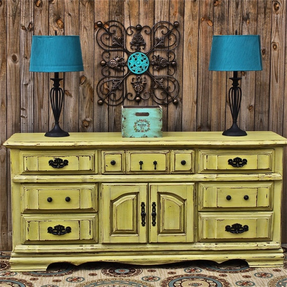 Yellow Dresser/ Vintage/ Rustic Wood Furniture/ by ...