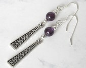 Celtic Knot Amethyst Earrings, Sterling Silver Beads, Sterling Silver Earwires