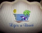 Life's a Beach Shell Shape Pillow  in YOUR color choice