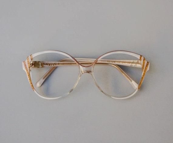 Gold Glitter Glasses Frames : Vintage french frame / gold sparkly glitter eyeglasses / white