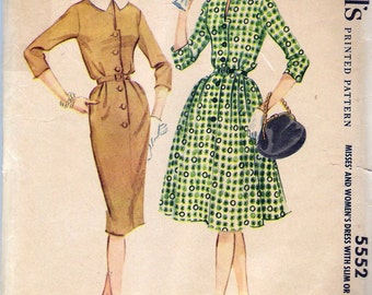 Vintage 1960 McCall's 5552 Dress with Slim or Full Skirt Sewing Pattern Size 14 Bust 34""