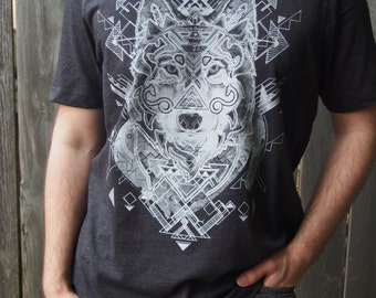 Gray Wolf with Arrows Screenprinted in Pale Ghost Gray on a Heathered Charcoal Colored Tshirt
