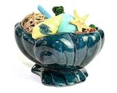 Shawnee Shell Planter - Turquoise Blue Glazed Ceramic, Mid-Century Art Pottery - Beach Patio or Garden Theme - Vintage Home Decor