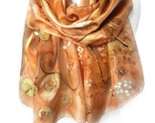 Copper Scarf. Tree Scarf. Hand Painted Silk Scarf. Unique Gift. Peach Brown Scarf. Whimsy Silk Shawl. 18x71in (45x180cm) MADE to Order
