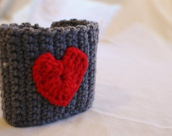Heart Mug Cozy, Coffee or Tea, Handcrafted, Gifts for Her