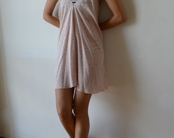 Womens summer beach cover up halter sundress minidress. Low back. Pink and white. One size fits many