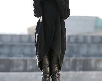 Coat, wool coat, black wool coat, winter coat, tulip shape coat, oversize coat, madi coat, womens coats, asymmetrical coat, jacket  C197