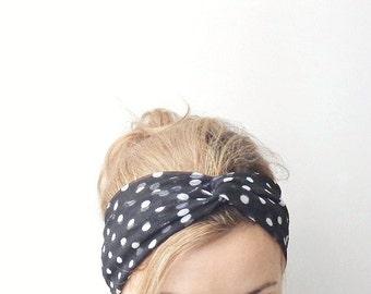 Black turban headband polka dot twist headband stretch head band turband jersey head wrap yoga casual everyday boho dark preppy fashion hair