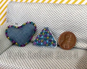 Denim Blue Heart and Triangle Beaded Pillows - 1:12 Scale Artisan Dollhouse Miniatures