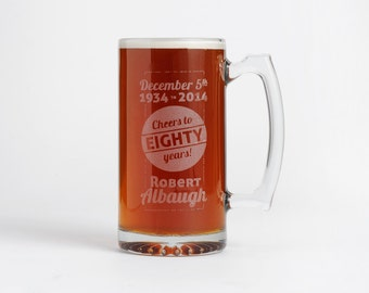 Personalized Beer Mug, Engraved Beer Mugs, Birthday Celebration, Groomsmen Gift, Personalized Beer Stein, Engraved Stein, Glass Mug