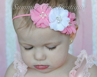 Headband, Baby Headband, Infant Headband, Newborn Headband - Pink and White Headband Chiffon and Pearls Flower Headband
