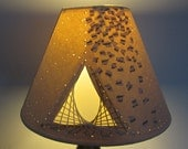 Paper Lampshade With Collaged Paper, Piercing, Hand and Machine Embroidery.(suits UK lamp fittings 25-30mm)
