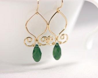 Gold Green Swarovski Crystal Earrings Wire Wrapped Jewelry Handmade Swarovski Crystal Jewelry Briolette Earrings Emerald Earrings
