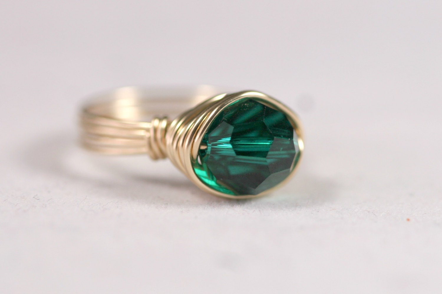 gold emerald ring wire wrapped jewelry handmade green