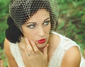 Champagne Birdcage Veil--Bridal Birdcage Veil in 9 inch netting, in champagne, ivory, white, blush or black