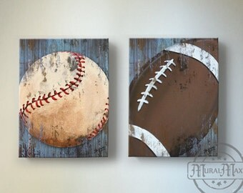 Baseball and Football Sports Wall Art , Baseball Nursery Decor, Baby Boys  Room Sports Canvas Art Print Baseball Art, Football Art