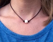 Pearl and Leather Necklace; Choose Single or Triple Pearl, Beautiful Freshwater Pearls on a Genuine Leather Cording