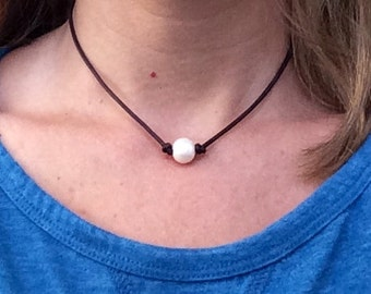 SALE Pearl and Leather Necklace; Choose Single or Triple Pearl, Beautiful Freshwater Pearls on a Genuine Leather Cording