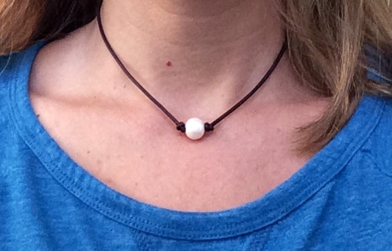 SALE Pearl and Leather Necklace Choose Single or Triple