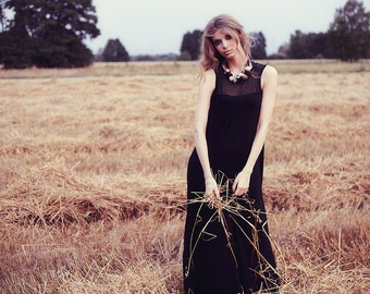 Long black dress - Garden of Love Collection, elegant dress for all occasions