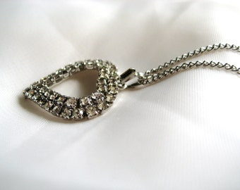 Vintage Crystal Rhinestone Silver Open Heart Pendant Necklace