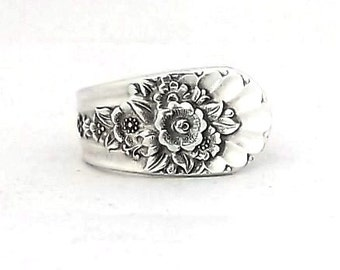 Spoon Ring Jubilee 1953, Bouquet of flowers, Snowdrop, Violet, Daisy, Sunflower, Anniversary Birthday Gift, Size 8 9 10 11 12 13