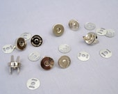 20 Silver 14mm Metal Magnetic Snaps Nickel Plated