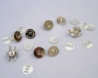 10 Silver 14mm Metal Magnetic Snaps Nickel Plated