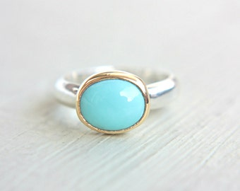 Sleeping Beauty Turquoise Ring 14k Yellow Gold Sterling Silver Turquoise Engagement Ring Made in Your Size Silversmith Goldsmith